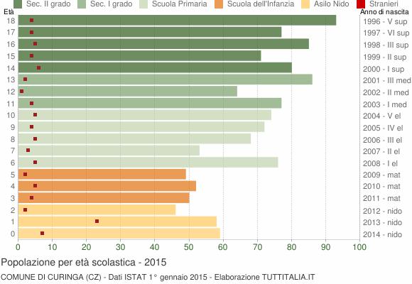 Grafico Popolazione in età scolastica - Curinga 2015