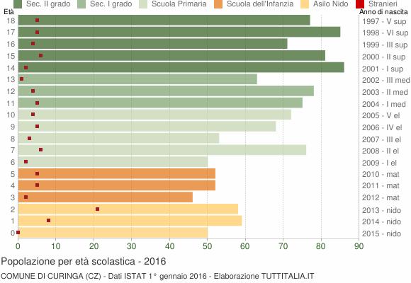 Grafico Popolazione in età scolastica - Curinga 2016