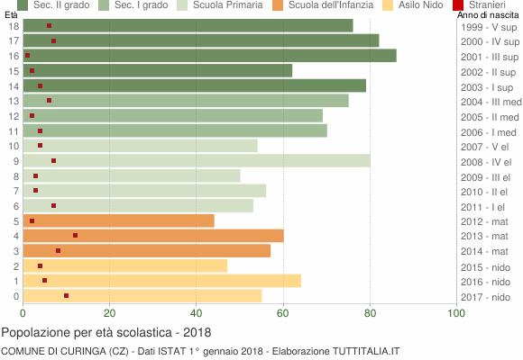 Grafico Popolazione in età scolastica - Curinga 2018