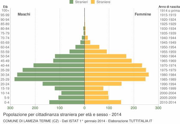 Grafico cittadini stranieri - Lamezia Terme 2014