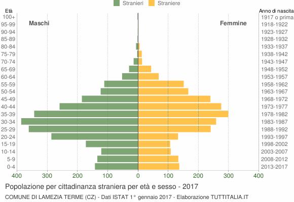 Grafico cittadini stranieri - Lamezia Terme 2017