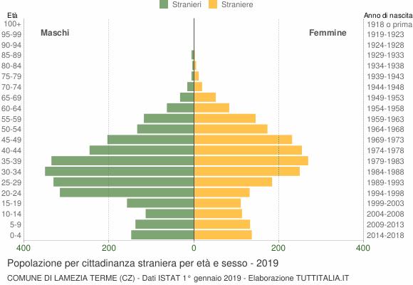 Grafico cittadini stranieri - Lamezia Terme 2019