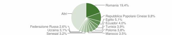 Grafico cittadinanza stranieri - Rende 2019