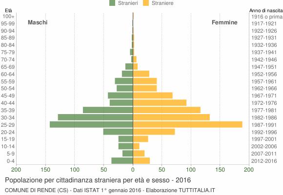 Grafico cittadini stranieri - Rende 2016