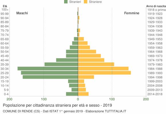 Grafico cittadini stranieri - Rende 2019