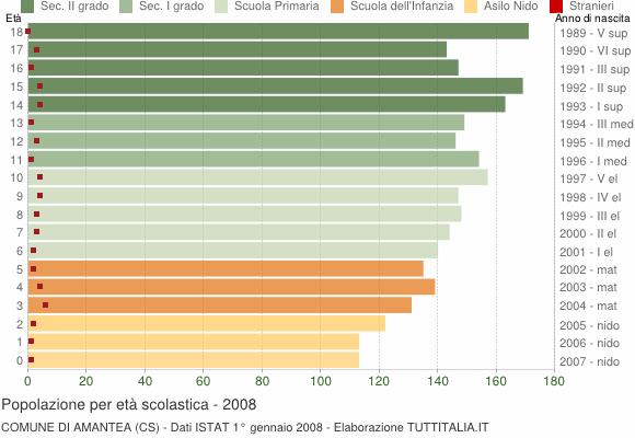 Grafico Popolazione in età scolastica - Amantea 2008