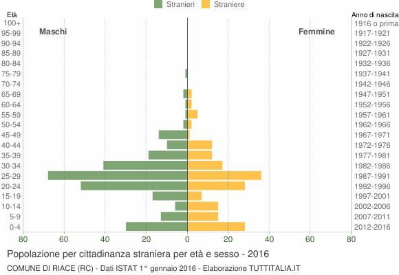Grafico cittadini stranieri - Riace 2016