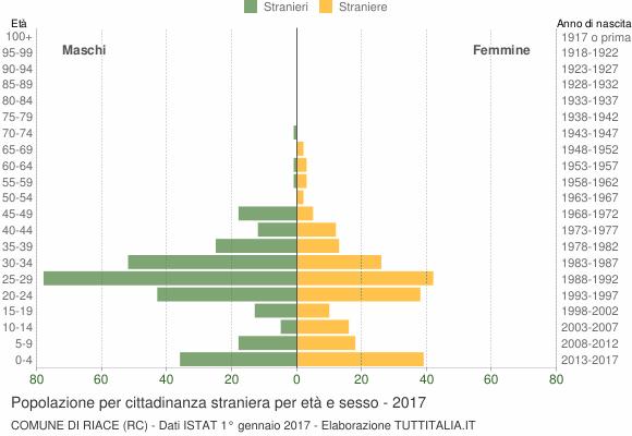 Grafico cittadini stranieri - Riace 2017