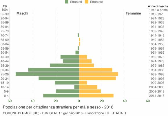 Grafico cittadini stranieri - Riace 2018