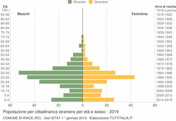 Grafico cittadini stranieri - Riace 2019