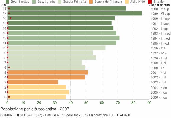 Grafico Popolazione in età scolastica - Sersale 2007