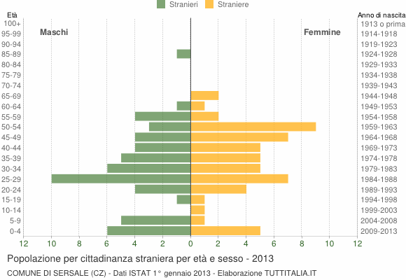 Grafico cittadini stranieri - Sersale 2013