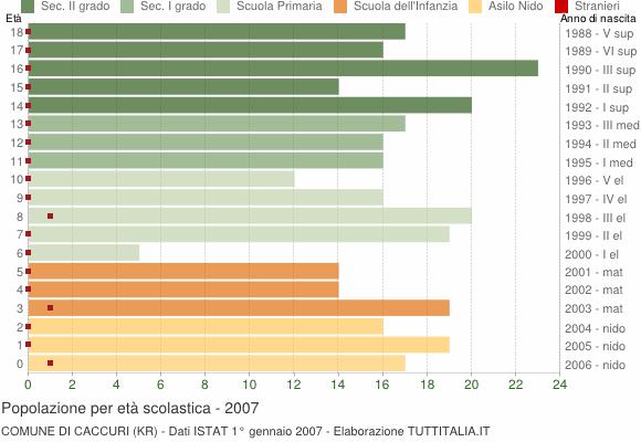 Grafico Popolazione in età scolastica - Caccuri 2007