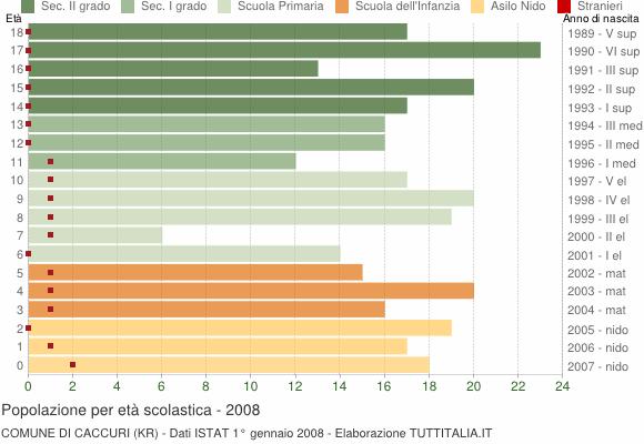 Grafico Popolazione in età scolastica - Caccuri 2008