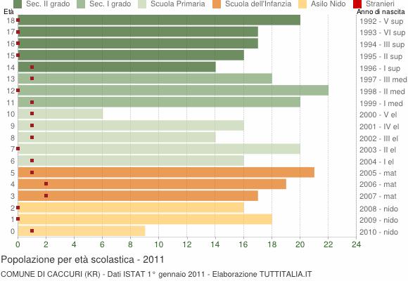 Grafico Popolazione in età scolastica - Caccuri 2011