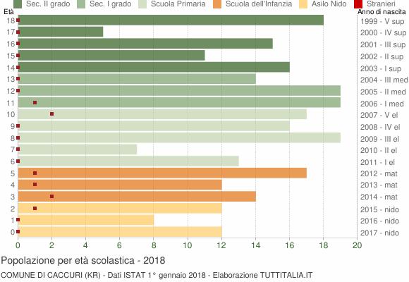 Grafico Popolazione in età scolastica - Caccuri 2018
