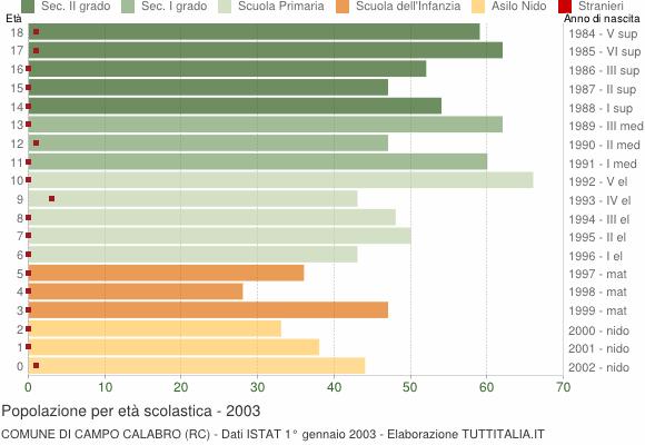 Grafico Popolazione in età scolastica - Campo Calabro 2003