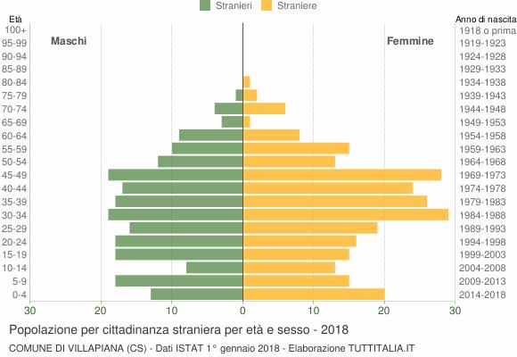 Grafico cittadini stranieri - Villapiana 2018