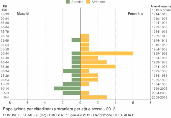 Grafico cittadini stranieri - Zagarise 2013