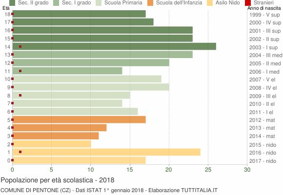 Grafico Popolazione in età scolastica - Pentone 2018