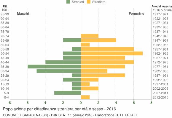 Grafico cittadini stranieri - Saracena 2016