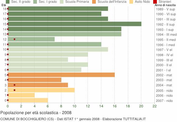 Grafico Popolazione in età scolastica - Bocchigliero 2008