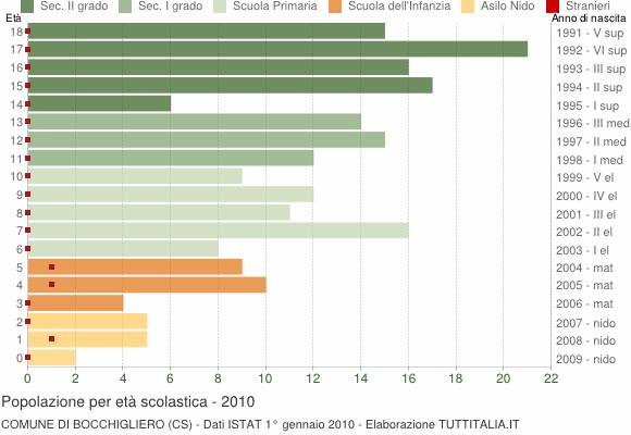 Grafico Popolazione in età scolastica - Bocchigliero 2010