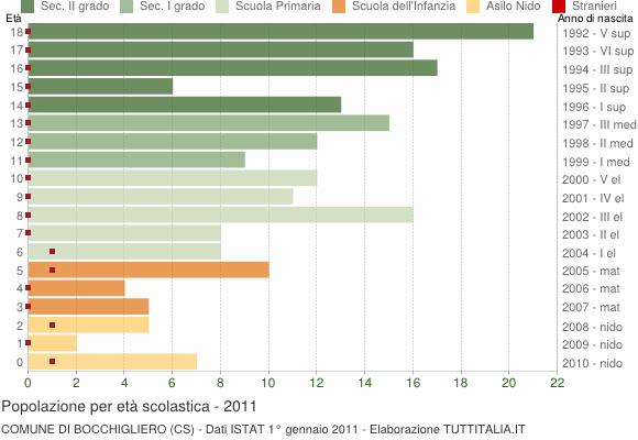 Grafico Popolazione in età scolastica - Bocchigliero 2011