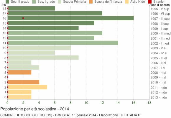 Grafico Popolazione in età scolastica - Bocchigliero 2014