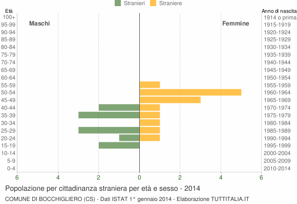 Grafico cittadini stranieri - Bocchigliero 2014