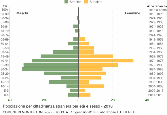 Grafico cittadini stranieri - Montepaone 2018