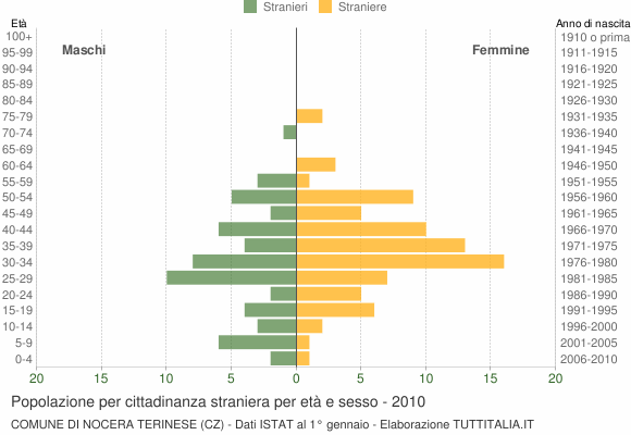 Grafico cittadini stranieri - Nocera Terinese 2010