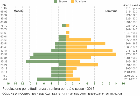 Grafico cittadini stranieri - Nocera Terinese 2015