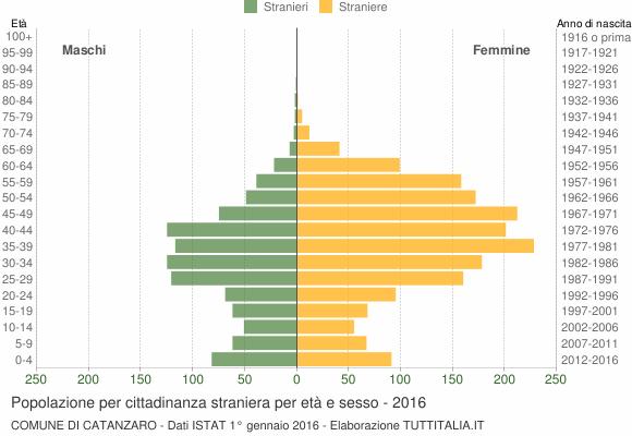 Grafico cittadini stranieri - Catanzaro 2016