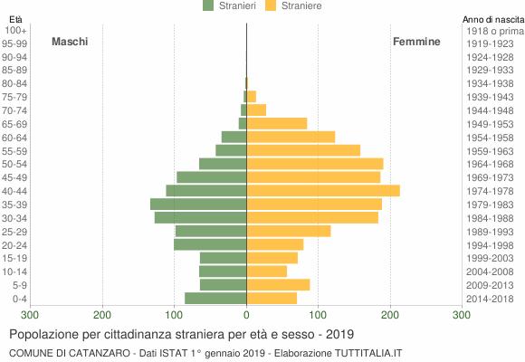 Grafico cittadini stranieri - Catanzaro 2019