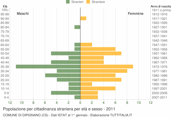 Grafico cittadini stranieri - Dipignano 2011