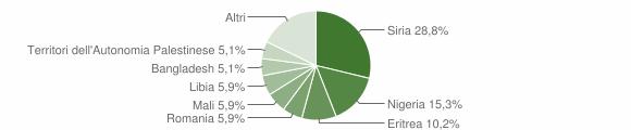 Grafico cittadinanza stranieri - Camini 2019