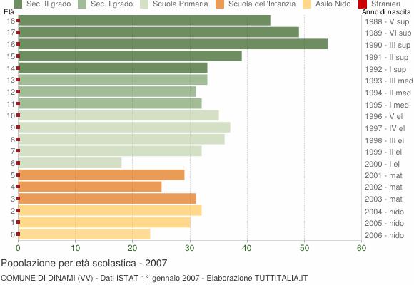 Grafico Popolazione in età scolastica - Dinami 2007