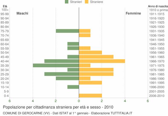 Grafico cittadini stranieri - Gerocarne 2010