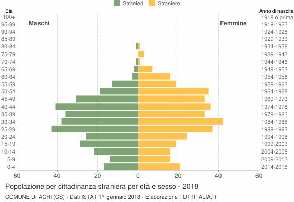 Grafico cittadini stranieri - Acri 2018