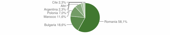 Grafico cittadinanza stranieri - Petronà 2018