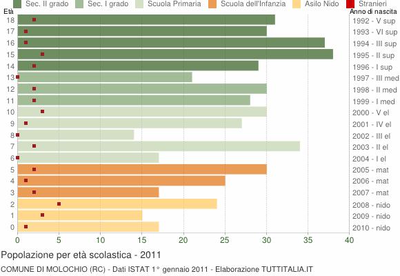 Grafico Popolazione in età scolastica - Molochio 2011
