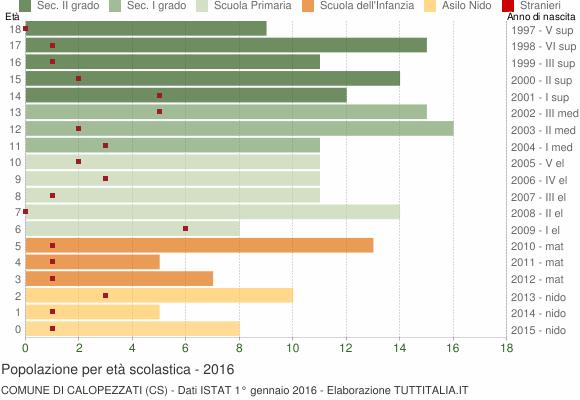 Grafico Popolazione in età scolastica - Calopezzati 2016