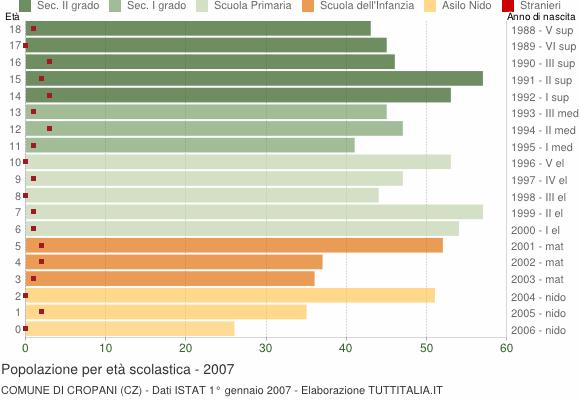Grafico Popolazione in età scolastica - Cropani 2007