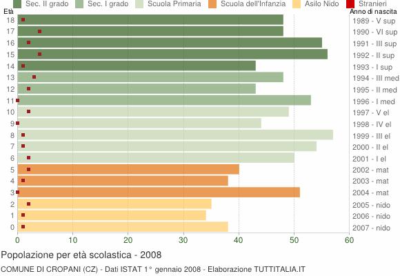 Grafico Popolazione in età scolastica - Cropani 2008