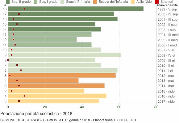 Grafico Popolazione in età scolastica - Cropani 2018