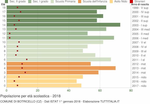 Grafico Popolazione in età scolastica - Botricello 2018