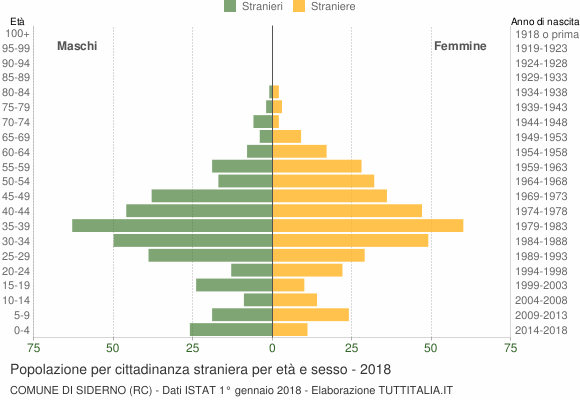 Grafico cittadini stranieri - Siderno 2018