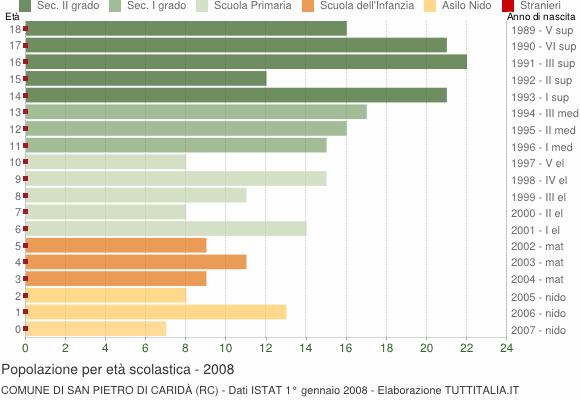 Grafico Popolazione in età scolastica - San Pietro di Caridà 2008