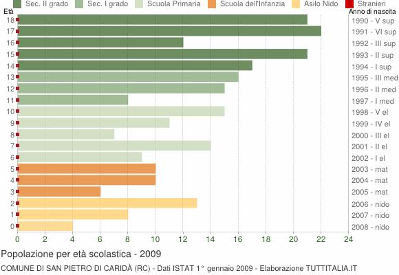 Grafico Popolazione in età scolastica - San Pietro di Caridà 2009